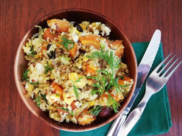 Taboulé de carottes rôties, fenouil, oranges et fanes
